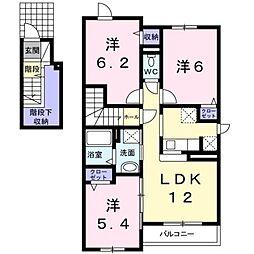 北海道滝川市新町1丁目の賃貸アパートの間取り
