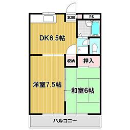 エスポワールクラタ 3階2DKの間取り