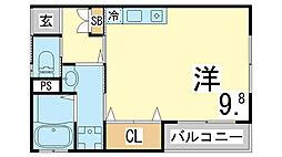 神戸市海岸線 駒ヶ林駅 徒歩5分の賃貸アパート 2階ワンルームの間取り