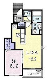 JR福塩線 神辺駅 徒歩10分の賃貸アパート 1階1LDKの間取り