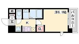 エステムコート三宮EASTIVザ・フロント 12階1Kの間取り