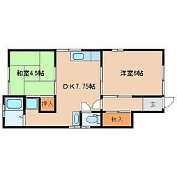 奈良県生駒市山崎新町の賃貸アパートの間取り