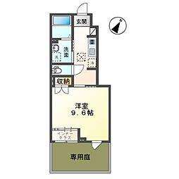 君津市南子安新築アパート 1階1Kの間取り