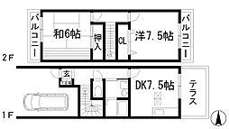 [テラスハウス] 兵庫県宝塚市山本野里2丁目 の賃貸【/】の間取り