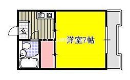 岡山県岡山市中区浜1丁目の賃貸マンションの間取り