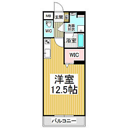 JR篠ノ井線 広丘駅 徒歩21分の賃貸マンション 5階ワンルームの間取り