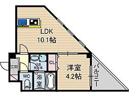 Satsuma-1st 2階1DKの間取り