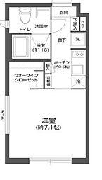都営新宿線 菊川駅 徒歩6分の賃貸マンション 4階1Kの間取り