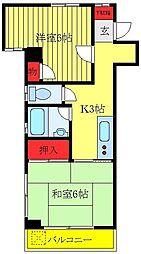 都営三田線 板橋区役所前駅 徒歩8分の賃貸マンション 2階2Kの間取り