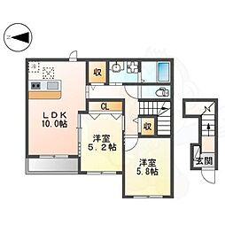 阪急京都本線 茨木市駅 徒歩26分の賃貸アパート 2階2LDKの間取り