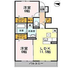 横浜市営地下鉄ブルーライン 立場駅 徒歩17分の賃貸アパート 1階2LDKの間取り