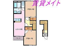 三重県伊勢市通町の賃貸アパートの間取り