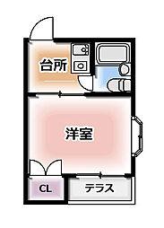 おしゃれ館北斗 2階1Kの間取り