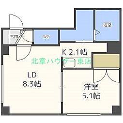 北海道札幌市東区北十九条東14の賃貸マンションの間取り