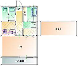 JR肥薩線 日当山駅 徒歩4分の賃貸アパート 2階1Kの間取り