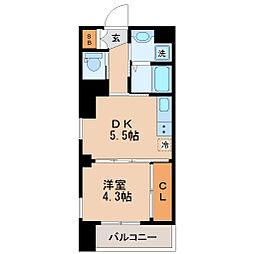 仙台市地下鉄東西線 大町西公園駅 徒歩2分の賃貸マンション 7階1DKの間取り