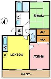 埼玉県さいたま市中央区上落合2丁目の賃貸アパートの間取り