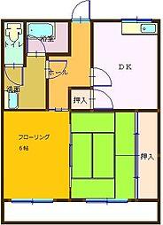 小川マンション 1階2DKの間取り