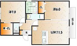 ウィステリア中吉田III[1階]の間取り