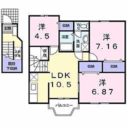 東京都武蔵村山市伊奈平4丁目の賃貸アパートの間取り