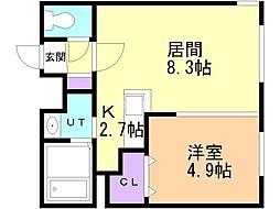 札幌市営南北線 北34条駅 徒歩4分の賃貸マンション 3階1LDKの間取り