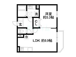 近鉄京都線 十条駅 徒歩13分の賃貸アパート 1階1LDKの間取り