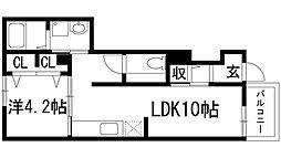 兵庫県西宮市上ケ原九番町の賃貸アパートの間取り