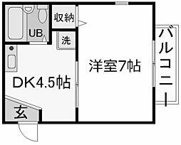 兵庫県西宮市老松町の賃貸アパートの間取り