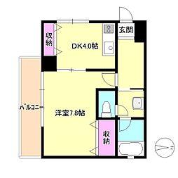 東京都八王子市中町の賃貸マンションの間取り