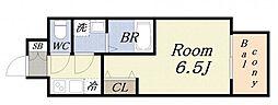 クリスタルグランツ・みなとシティ 7階1Kの間取り