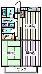 埼玉県さいたま市南区鹿手袋6丁目の賃貸アパートの間取り