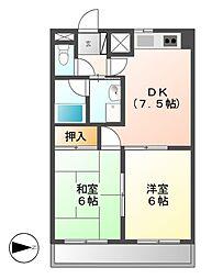 レインボー青柳[4階]の間取り