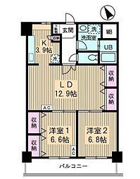 JR山手線 高田馬場駅 徒歩10分の賃貸マンション 7階2LDKの間取り