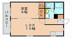 福岡県福岡市博多区比恵町の賃貸アパートの間取り
