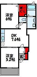 福岡県遠賀郡水巻町古賀1丁目の賃貸アパートの間取り