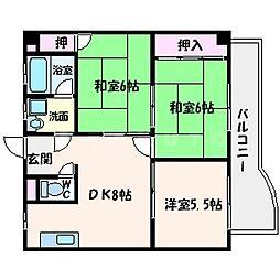 サンシャトー山本[3階]の間取り