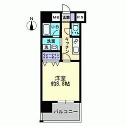 JR吉備線 備前三門駅 徒歩15分の賃貸マンション 8階1Kの間取り