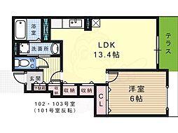 泉北高速鉄道 深井駅 徒歩21分の賃貸アパート 1階1LDKの間取り