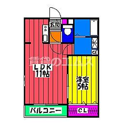 メゾンクレール竹下駅前壱番館 2階1LDKの間取り