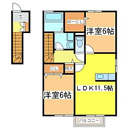 広島県東広島市西条町御薗宇の賃貸アパートの間取り
