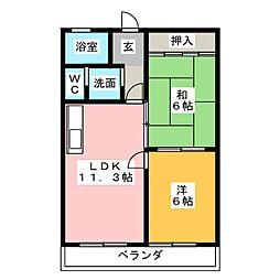 サンハイツ栄[3階]の間取り