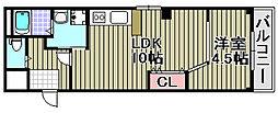 ルミー羽倉崎 1階1LDKの間取り