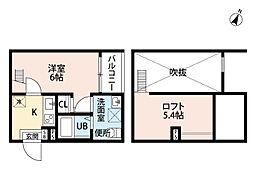 愛知県名古屋市中村区烏森町8丁目の賃貸アパートの間取り