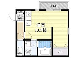 近鉄南大阪線 矢田駅 徒歩4分の賃貸アパート 3階1LDKの間取り