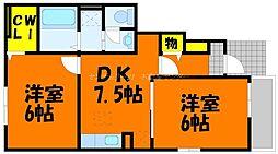 岡山県岡山市北区中撫川の賃貸アパートの間取り