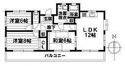 愛知県名古屋市南区元桜田町4丁目の賃貸マンションの間取り