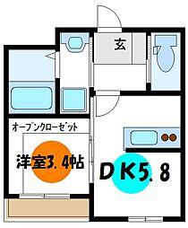 AQUE 17 2階1DKの間取り