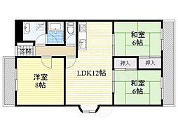 北大阪急行電鉄 緑地公園駅 徒歩6分の賃貸マンション 3階3LDKの間取り