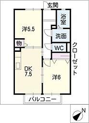 ステイブル八田[2階]の間取り