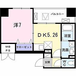 東京メトロ日比谷線 築地駅 徒歩8分の賃貸マンション 7階1DKの間取り